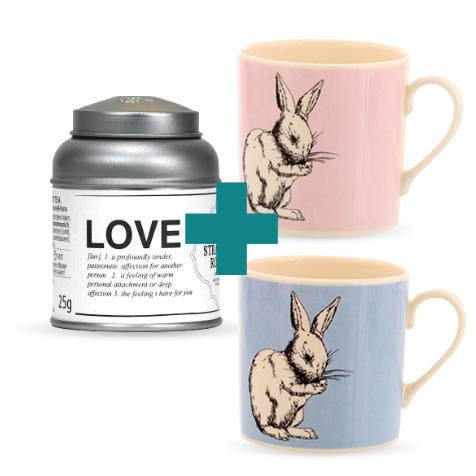 Chauds lapins : set de deux tasses lapins et thé love