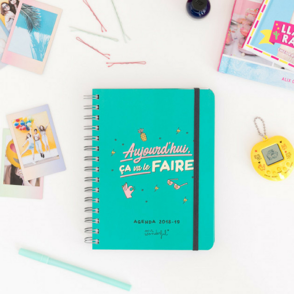 Agenda sketch 2018-2019 semainier Aujourd'hui ça va le faire Mr Wonderful