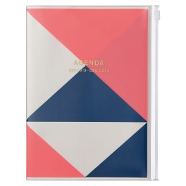 Agenda A5 MARK'S JAPAN Geometric Pattern 2019-2020 - Rose Néon
