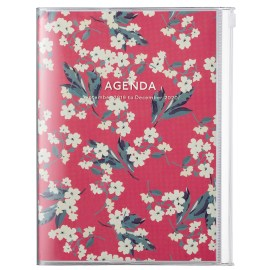 Agenda A5 MARK'S JAPAN Flower 2019-2020 - Rouge