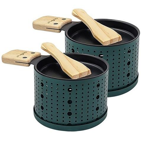 2 sets à raclette individuels à la bougie Vert Cookut