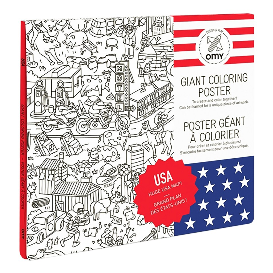 Poster Géant à colorier USA by OMY