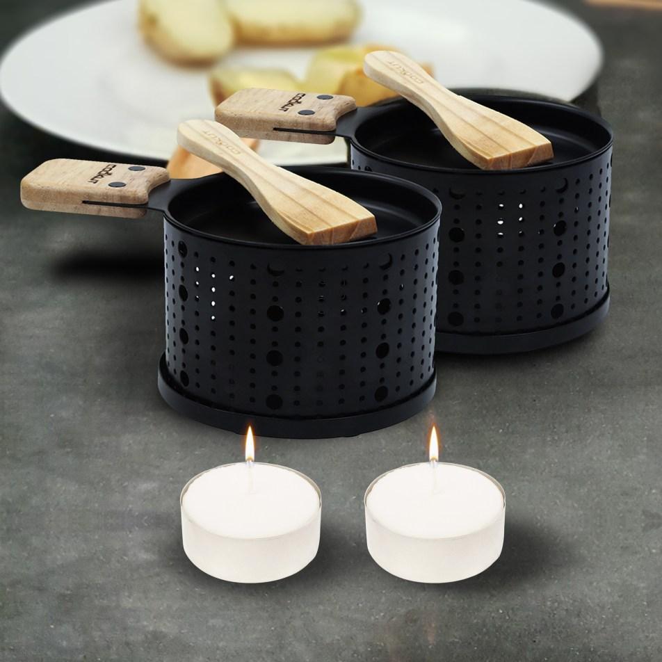 CADEAU | 2 sets à raclette individuel à la bougie noir Cookut avec 2 bougies offertes