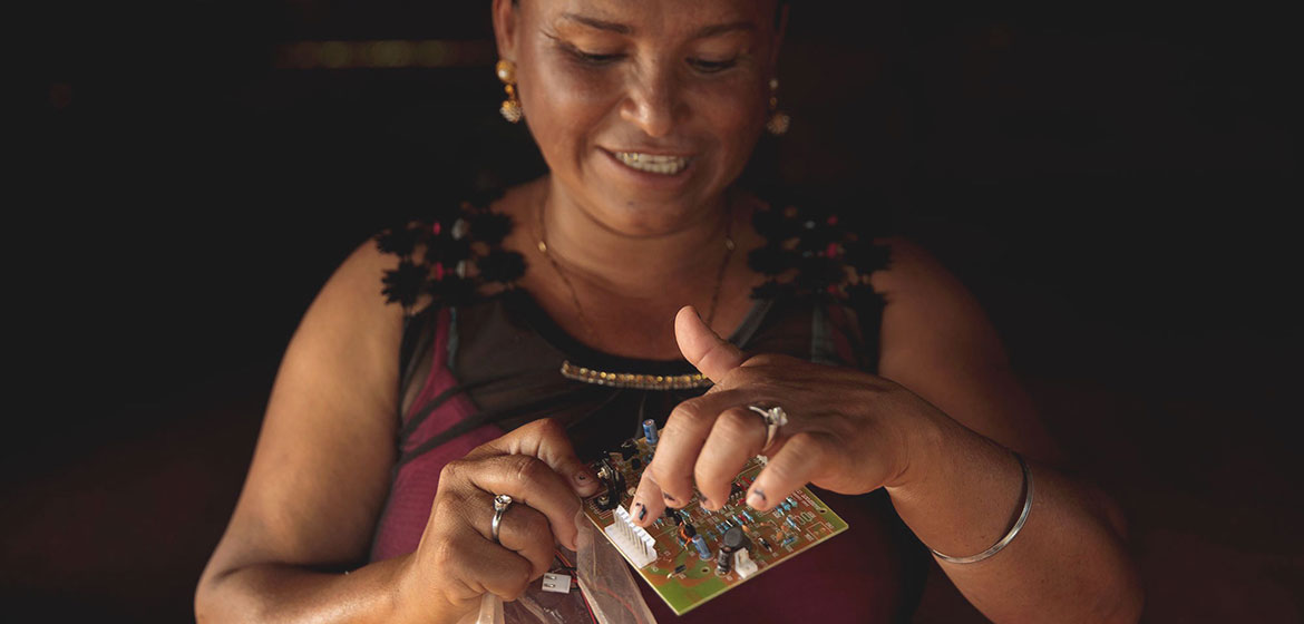 A  woman from a small municipality in Guatemala has trained for six months to become a solar engineer.