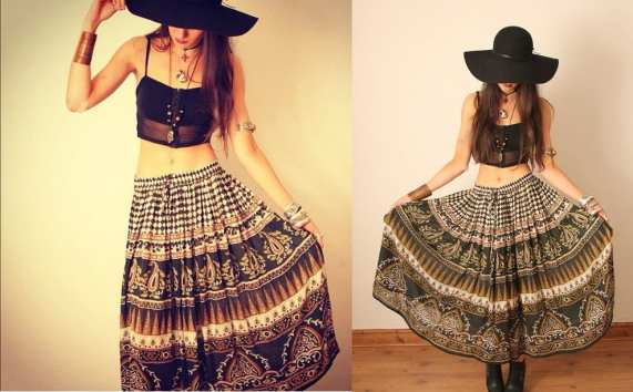 Jupe vintage aux motifs indiens