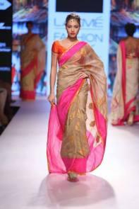 Saree coton rose-beige