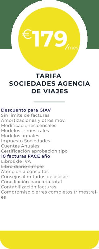 tarifa sociedades agencia de viaje