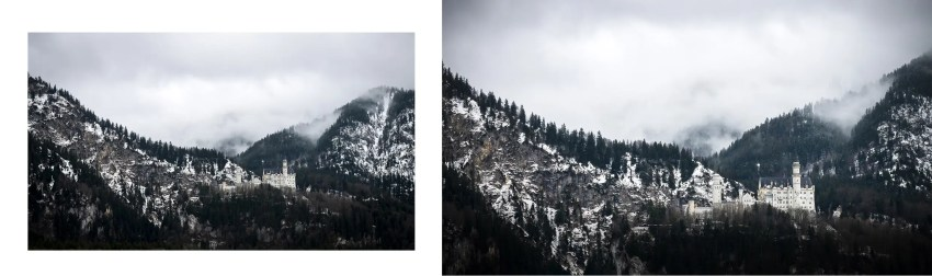 château de Neuschwanstein devant montagnes