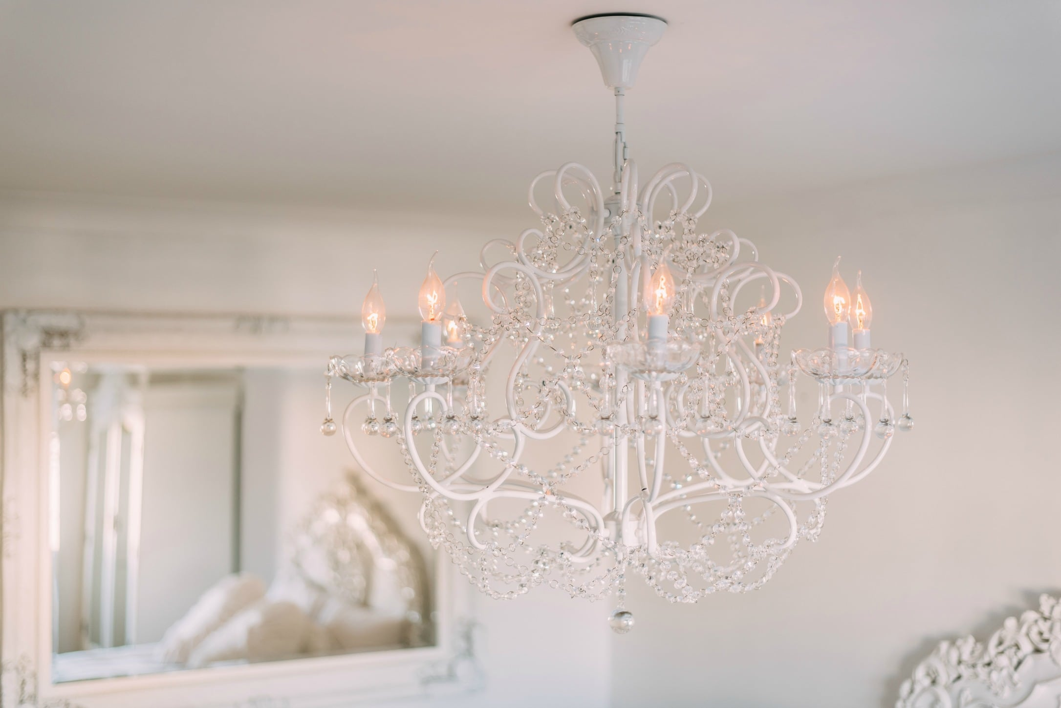 Belgian Style Large White 8 Branch Chandelier Furniture