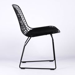 Wire Mesh Dining Chairs Uk Papasan Lounge Chair Cushion Bertoia Inspired Black Furniture