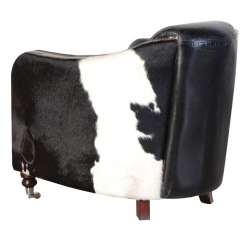 Cowhide Chairs Uk Chair With Stool Vintage Style Black And White Leather Armchair Furniture