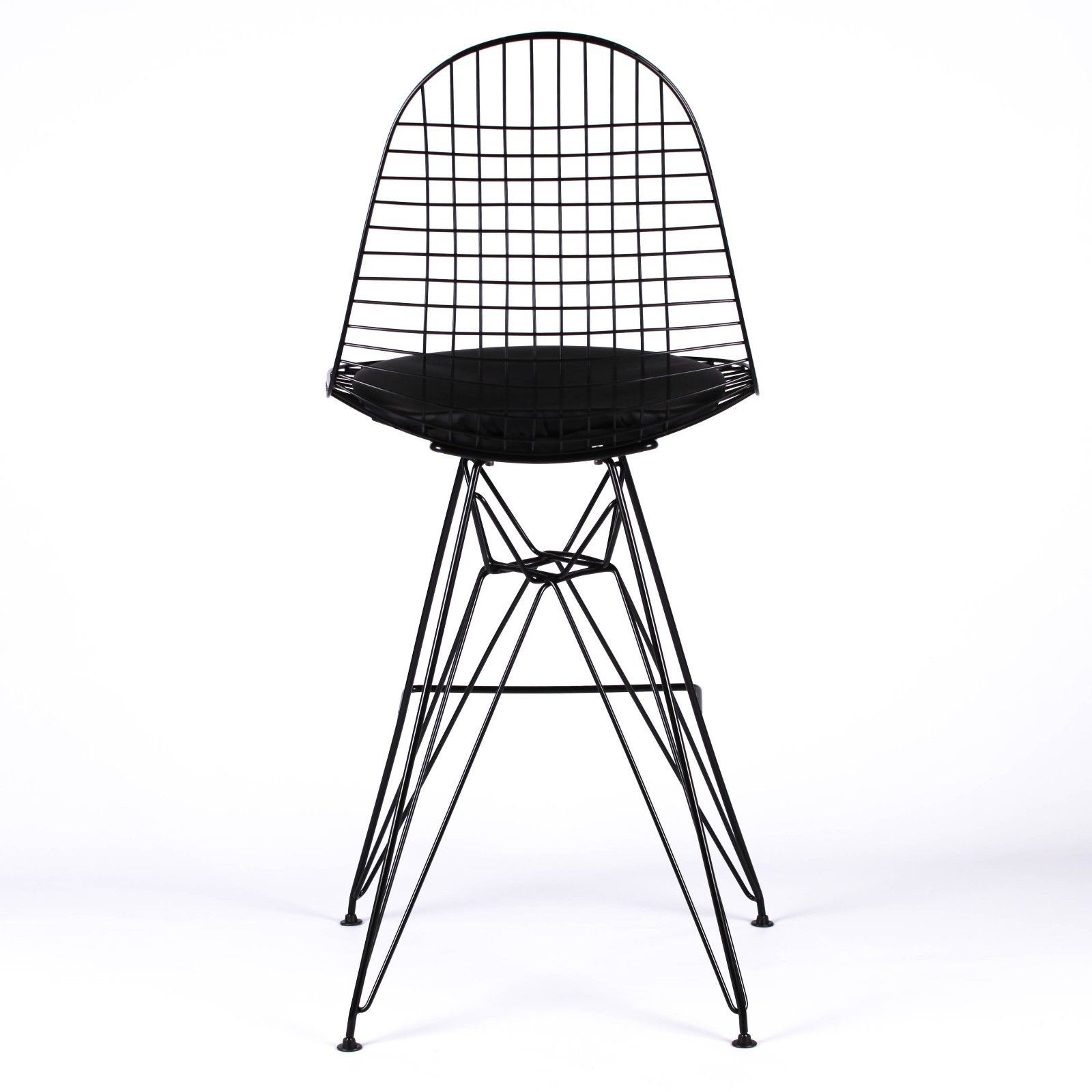 Wire Metal Mesh Black Bar Stool With Seat Pad Furniture