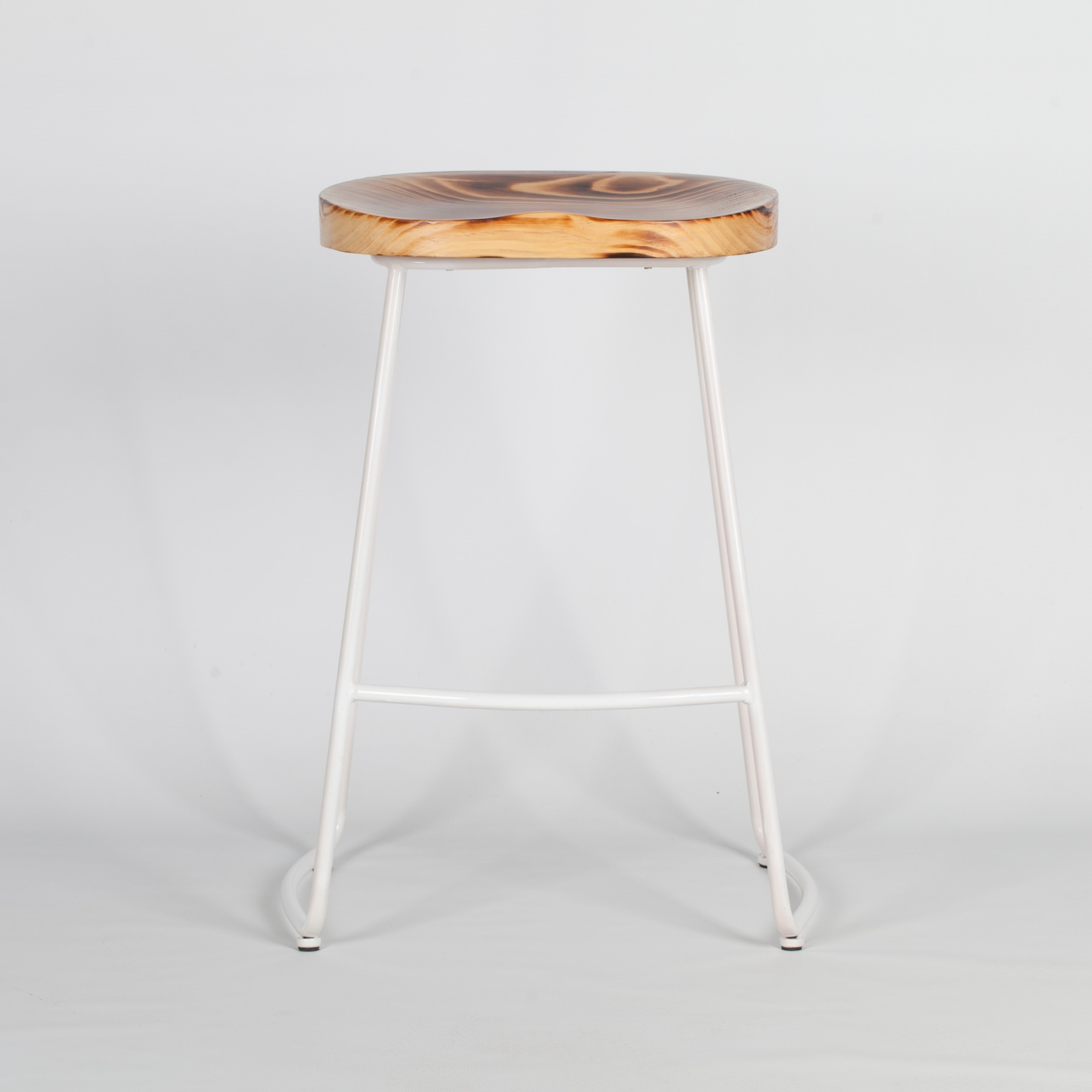 Industrial White Tractor Style Wooden Seat Metal Bar Stool Furniture La Maison Chic Luxury Interiors