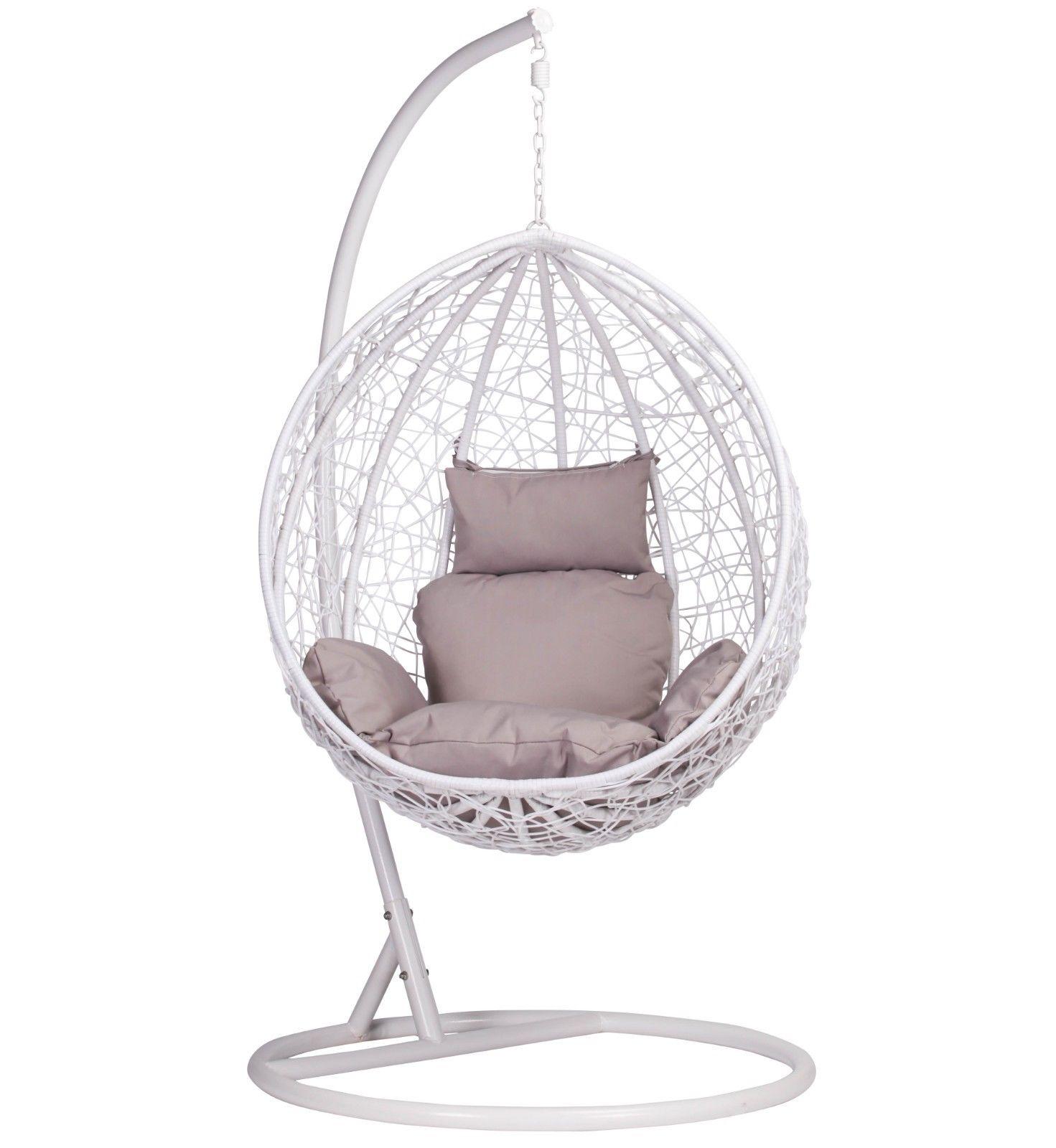 White Rattan Swing Weave Patio Garden Hanging Egg Chair