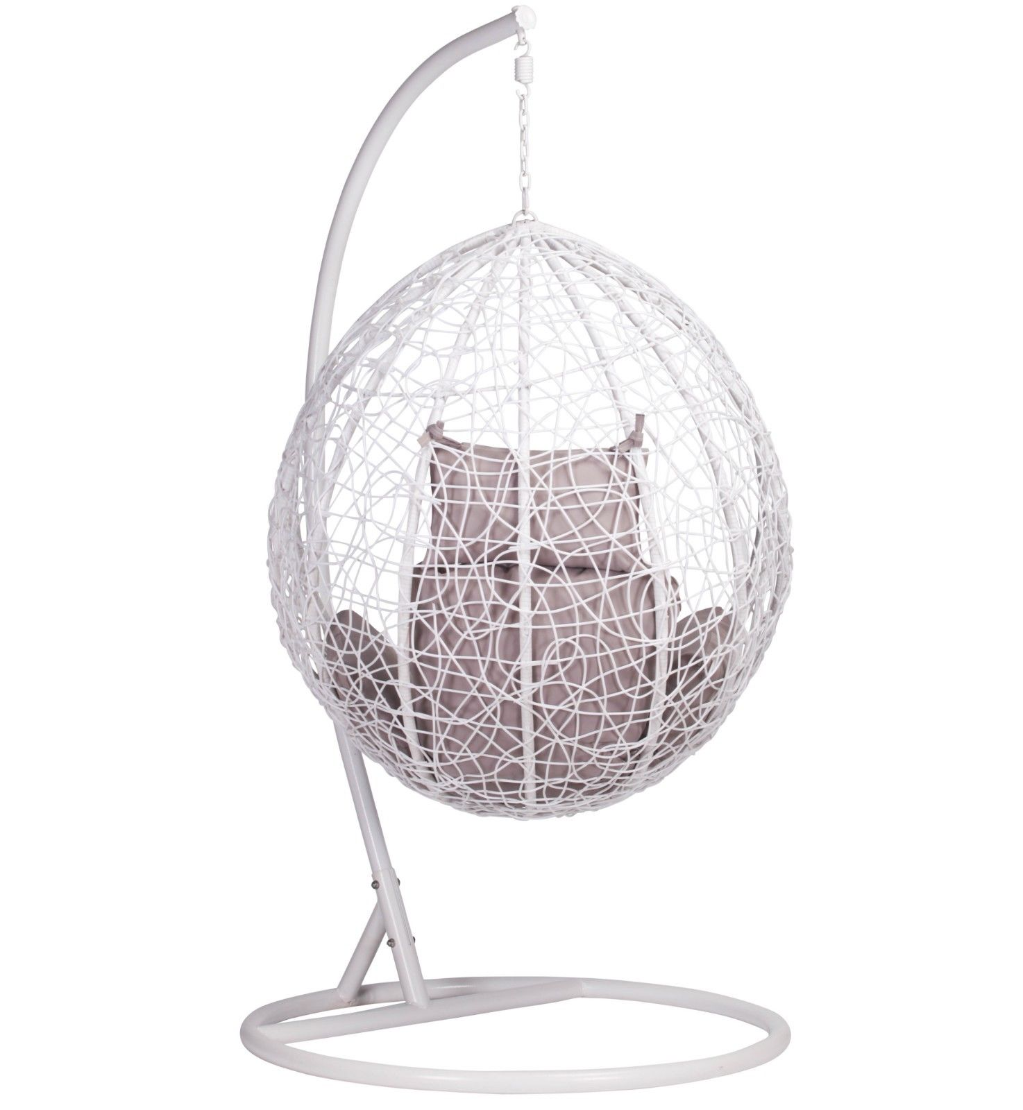 White Rattan Swing Weave Patio Garden Hanging Egg Chair Furniture La Maison Chic Luxury Interiors