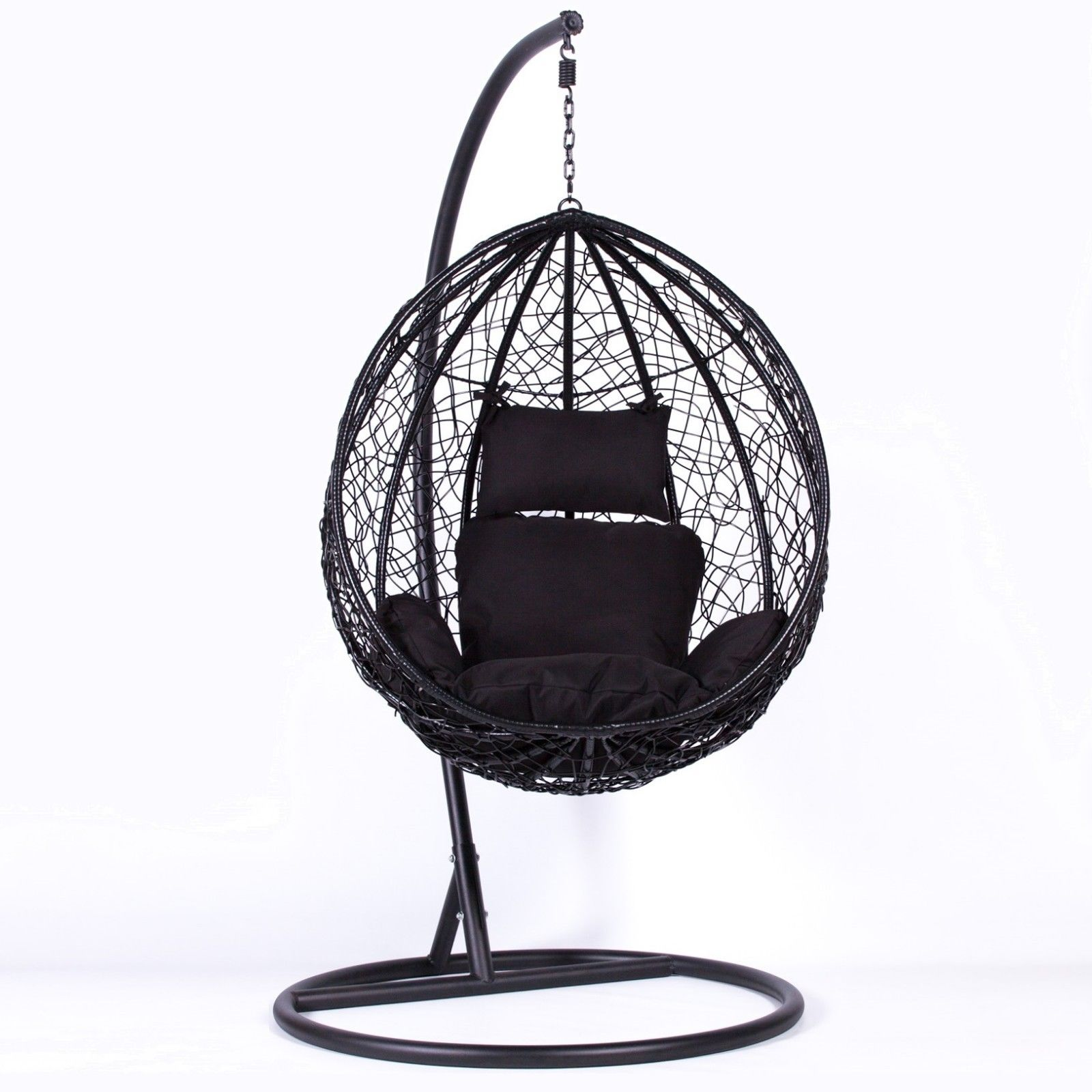 Rattan Black Swing Weave Patio Garden Hanging Egg Chair