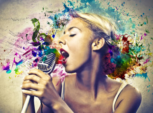 woman singing on mic