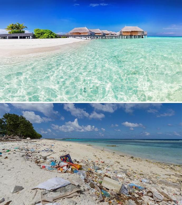 Une plage des Maldives, les photos de magazine vs la réalité, sur le blog La Retouche photo.