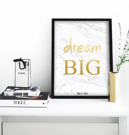 art print affiche printable think dream big etsy mantra