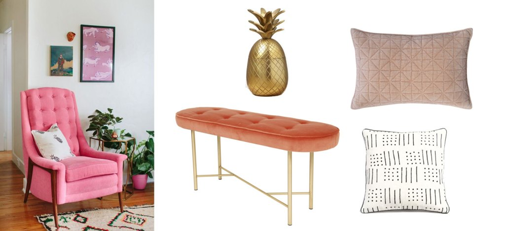 banquette-velours-rose-coussin-motif-bereberes-ananas