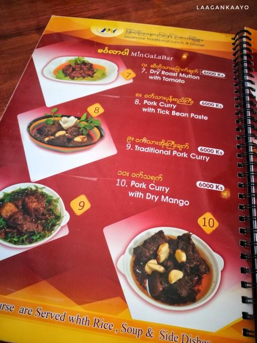 Mingalabar Restaurant Menu