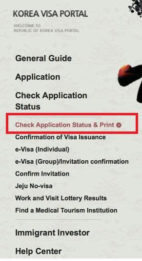Check South Korea Visa Application Status online
