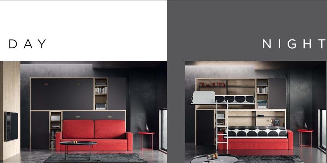 Camas abatibles horizontales integradas en un salón y ocultas tras un sofá. .