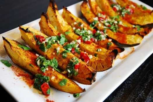 Spicy Roasted Acorn Squash Wedges