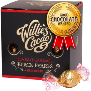 Willie's Cacao Sea salt caramel black pearls 71%