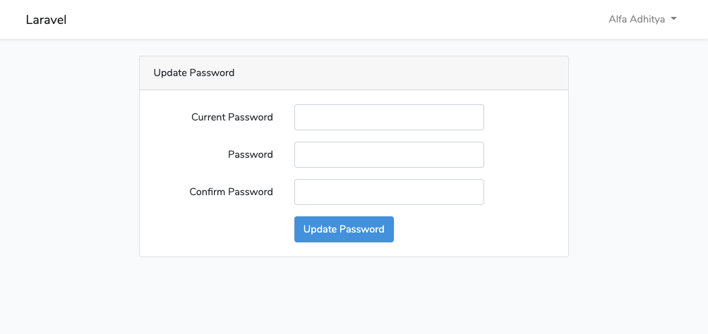 Laravel Update Password