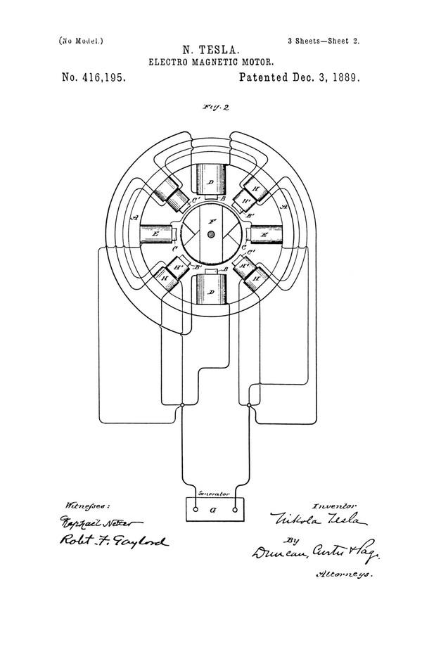 Tesla Patent 416,195