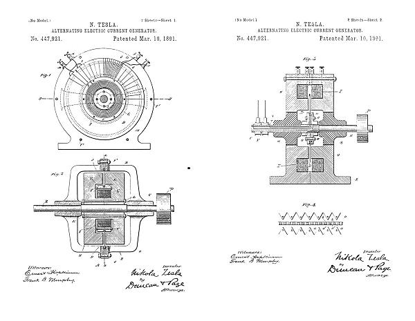 Tesla Patent 447,921