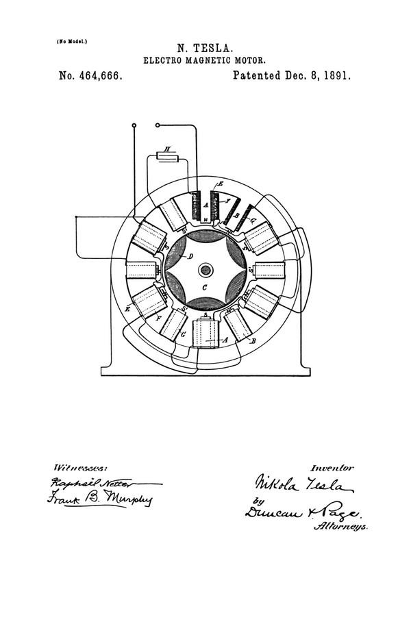 Tesla Patent 464,666