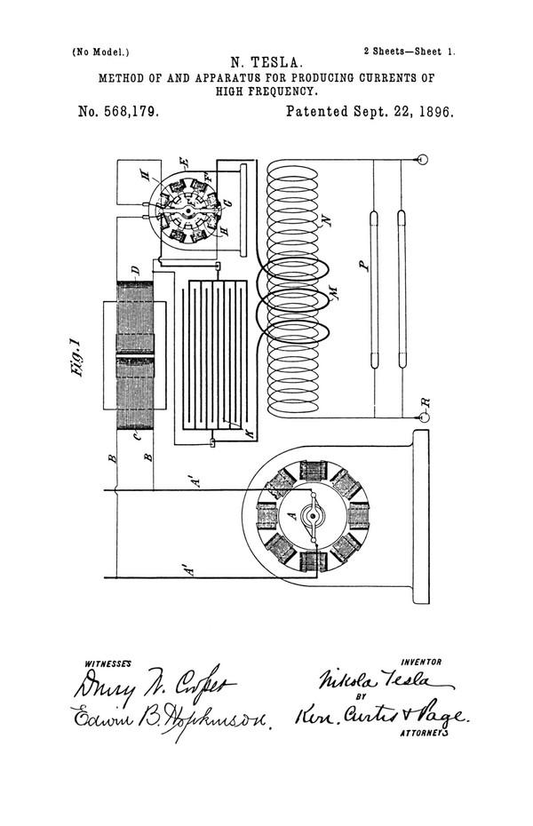 Tesla Patent 568,179