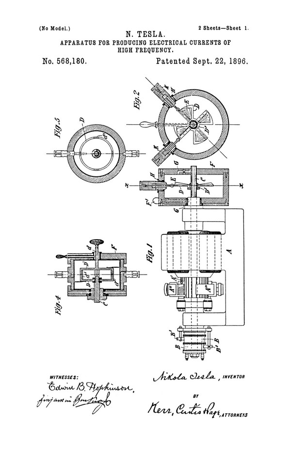 Tesla Patent 568,180
