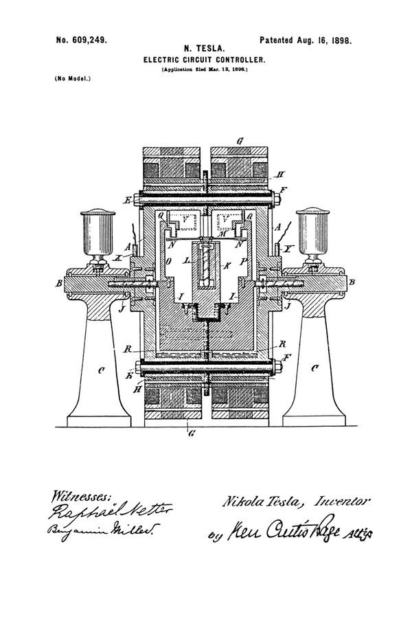 Tesla Patent 609,249