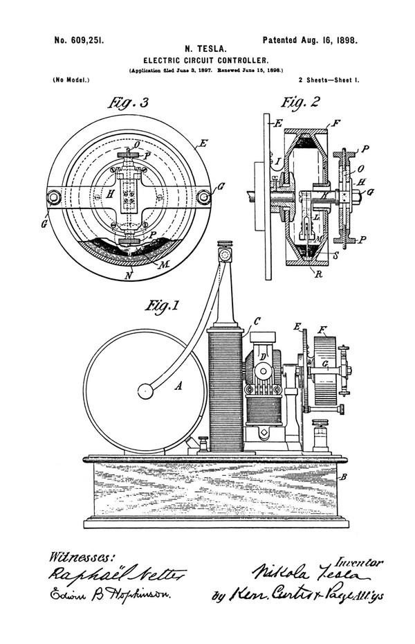 Tesla Patent 609,251
