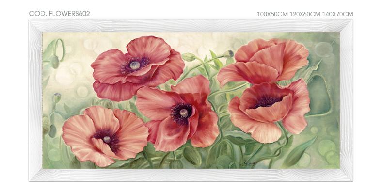 Flowers601 quadro moderno su tela con fiori floreale for Quadri con papaveri rossi