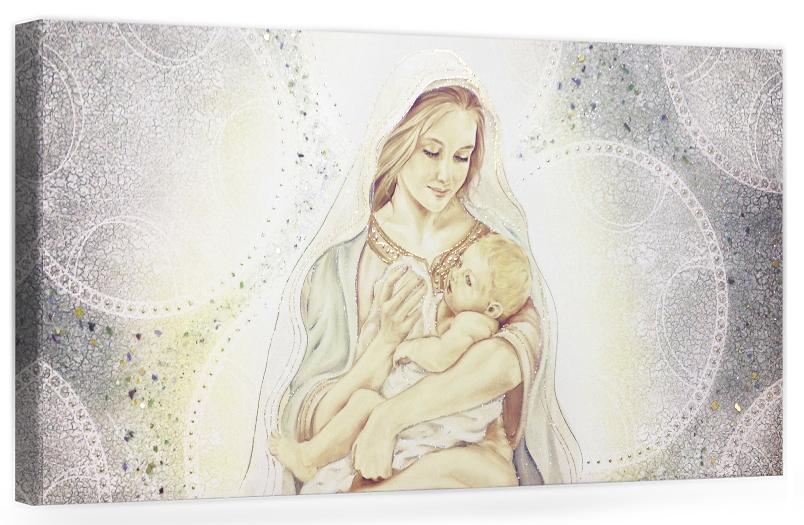 PRESTIGE07 Capezzale quadro moderno su tela sacro madonna con bambino per la camera da letto