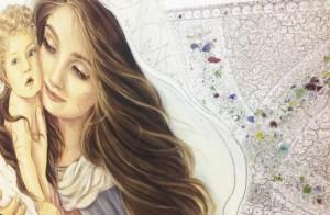 PRESTIGE09 Capezzale quadro moderno su tela sacro madonna con bambino per la camera da letto - Dettaglio