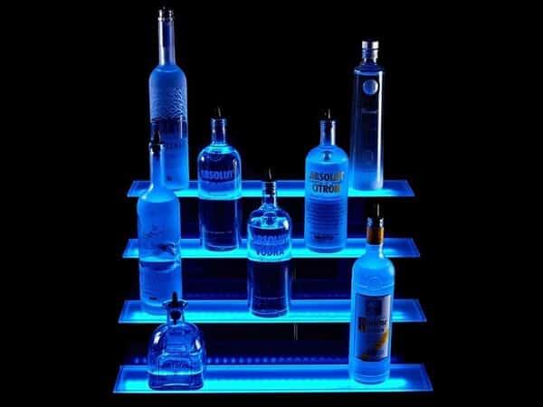 Lighted Liquor Bottle Shelves
