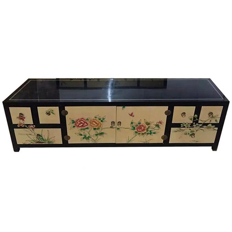 meuble tv laque chinois noir et dore meubles labaiedhalong com