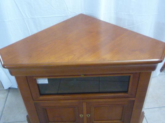 meuble tv d angle trois portes dont une en verre merisier