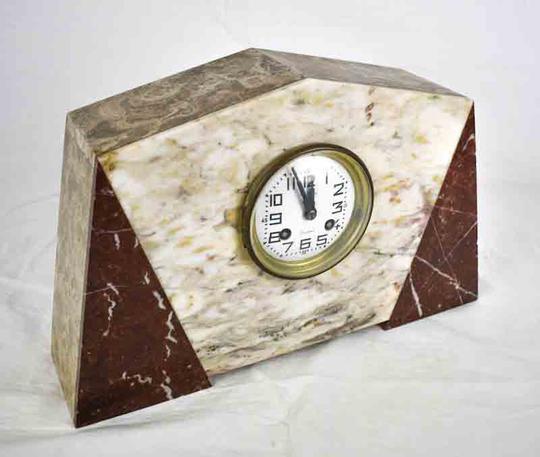 horloge de cheminee en marbre 3 pieces art deco ancien