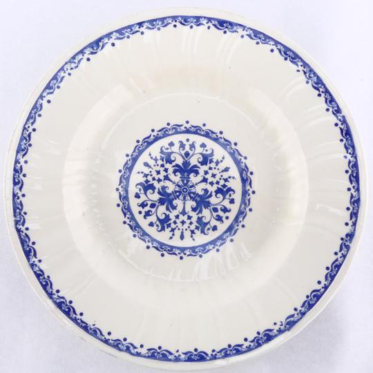 assiette creuse terre de fer bleu gien ancienne