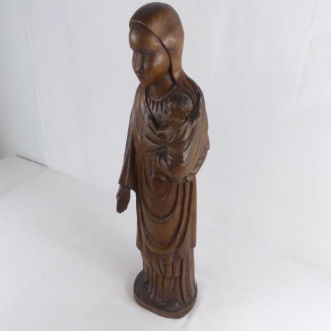 statue vierge a l enfant en chene massif fin du 19eme siecle