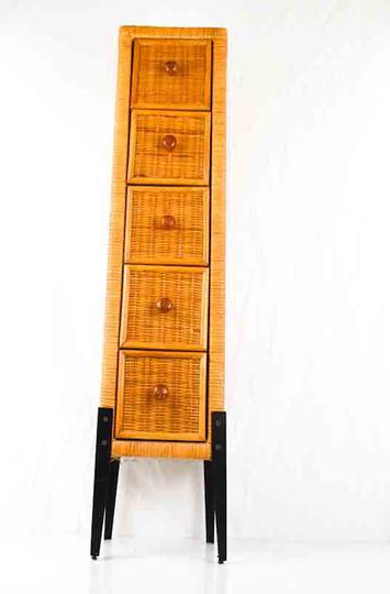 petit meuble de rangement salle de bain en osier bois et fer
