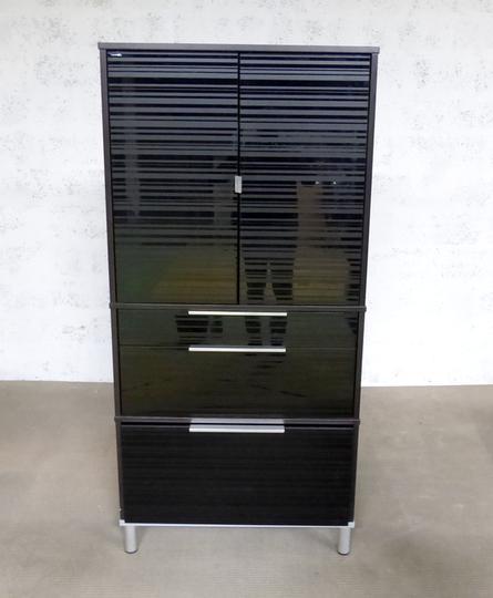 meuble rangement ikea en melamine 85x42x175cm noir