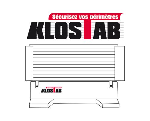 Logo et illustration d'une barrière de sécurité Klostab
