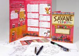 Carte, menu et flyer pour le Restaurant La Savane Express - Label Communication